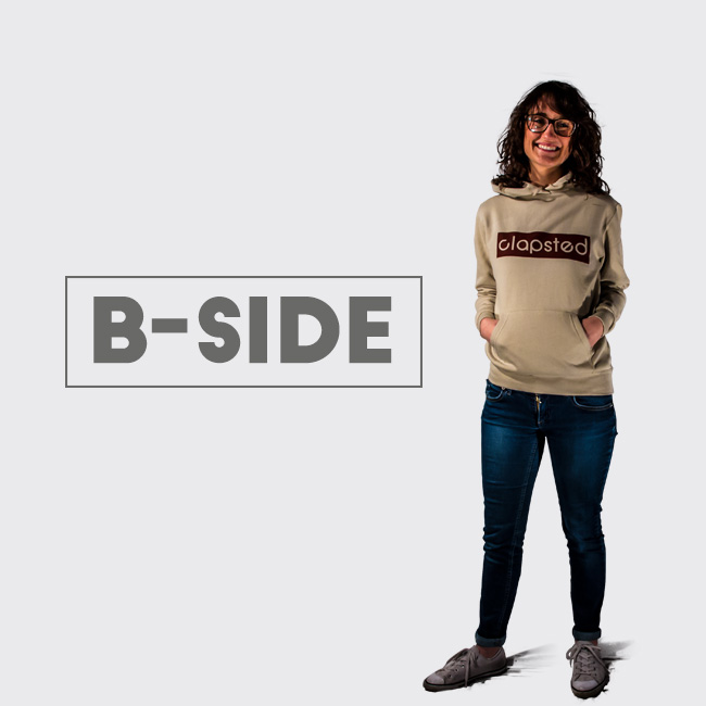 maglie e felpe logo clapsted b-side per skaters surfers snowboarders
