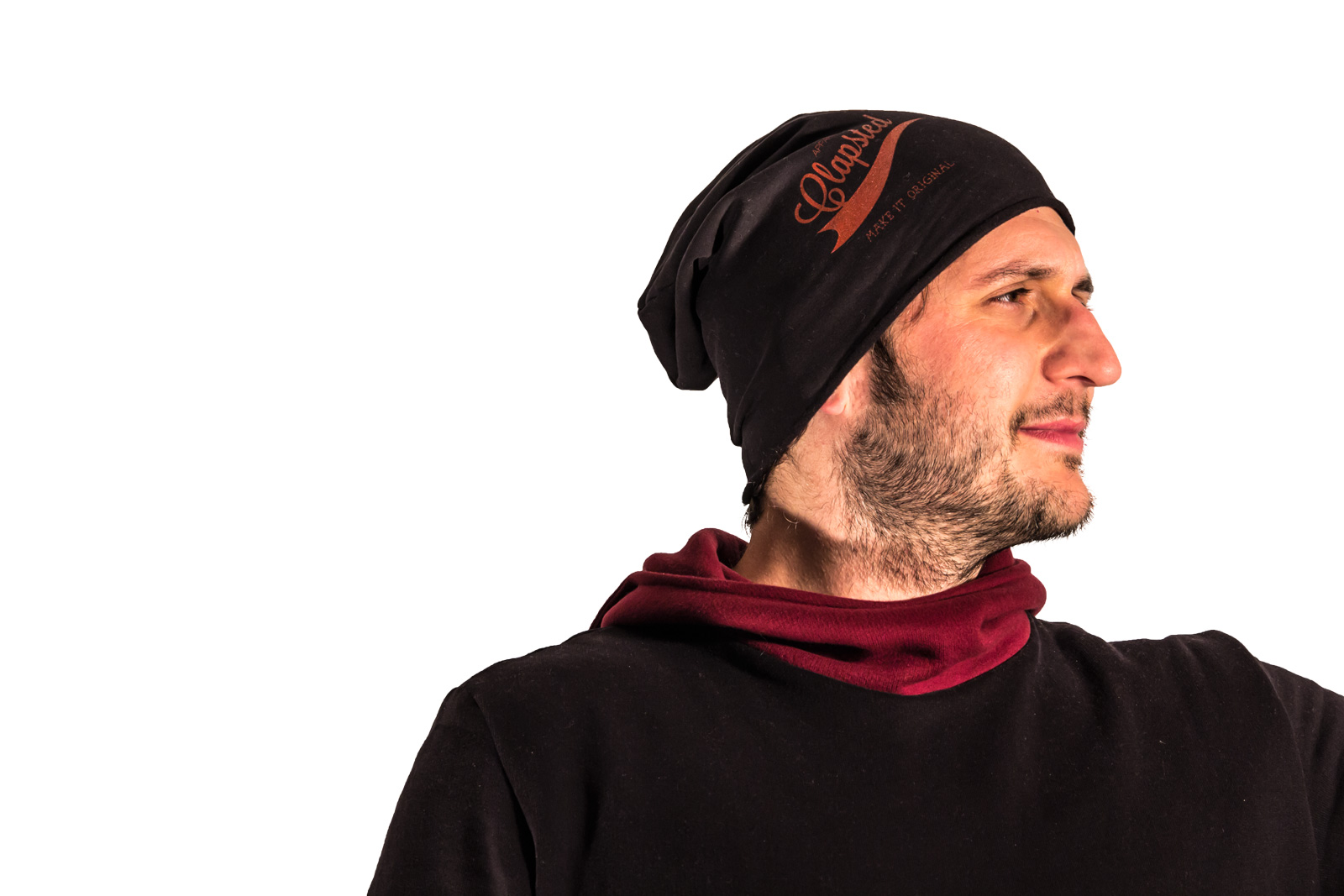 Stylish long hat, 100% fleece cotton, for skaters e snowboarders