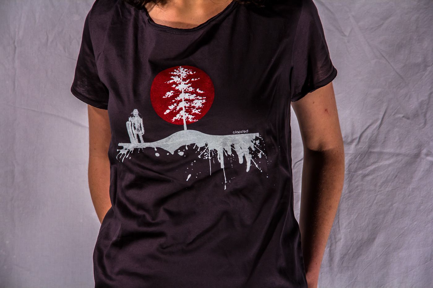 Hoodie t-shirt or tank-top with yeti and tree with sun backlight. Snowboard style print