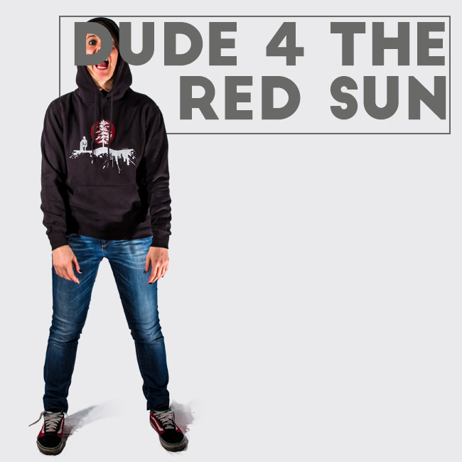 Hoodie with yeti and tree with sun backlight. Snowboard style print