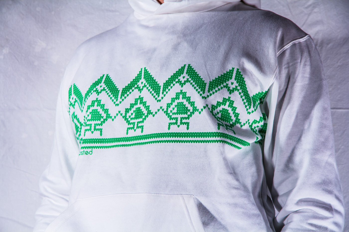 silkscreen print aliens characters of arcade videogames on hoodie and t-shirt with emboidery effect