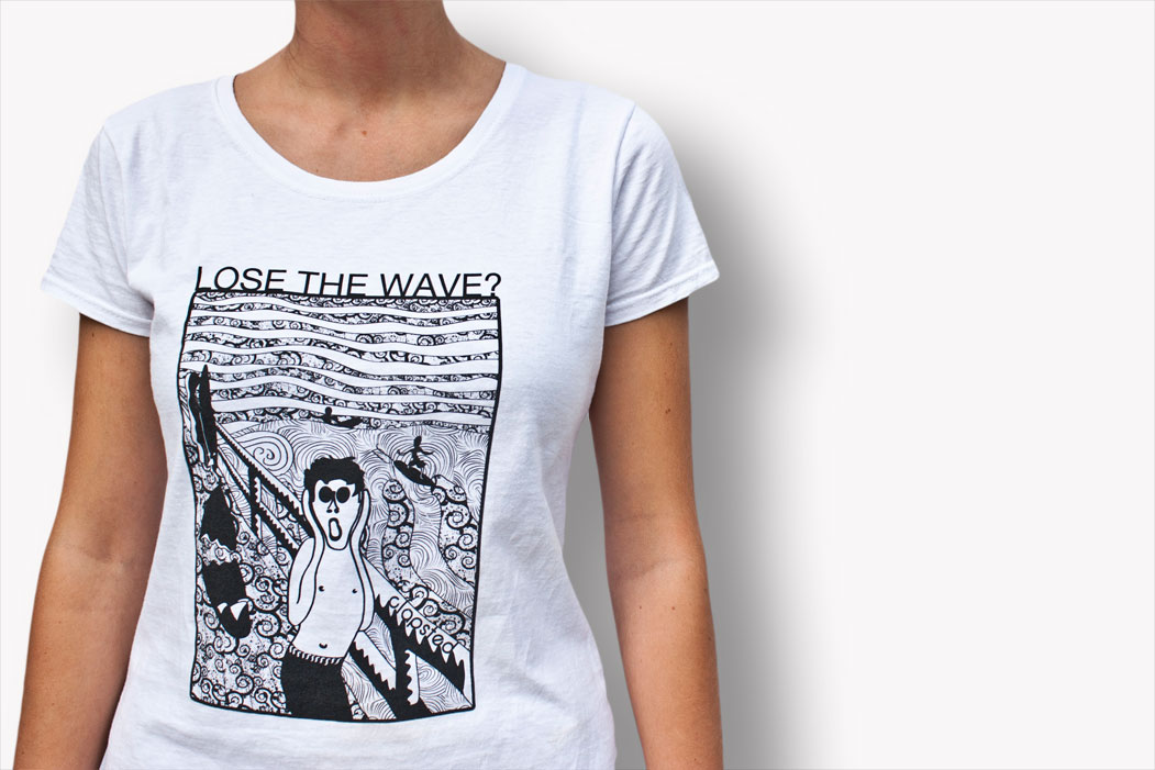 tshirt surf skate, Munch Scream, famous painting