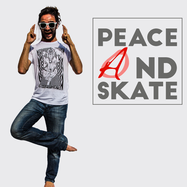maglietta surf skaters ganesha peace and skate by clapsted