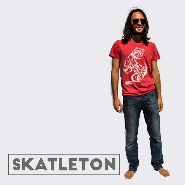 Skeleton skater BOST design t-shirt for Clapsted