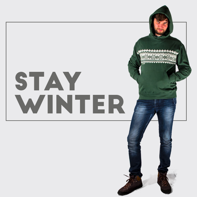 Classic hoodie in christmas style for your winter with embroidery silkscreen print effect